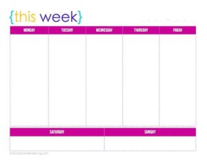 A colorful, printable, weekly planner that features the 5 days of the week at top, and the 2 weekend days at the bottom