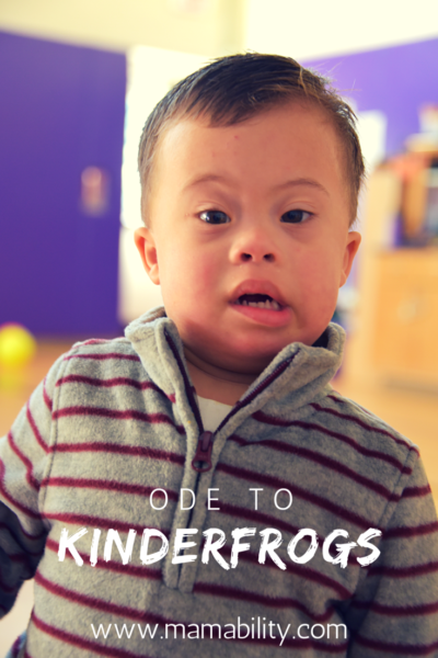 """A photo of Everett at KinderFrogs that reads """"Ode to Kinderfrogs"""" and the url link www.mamability.com"""