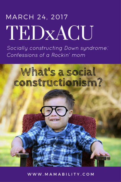 A graphic that includes the date of the TEDxACU talk and a picture of Everett with hipster classes on, posing the question -- What's a social constructionism? The date of the talk is March 24, 2017.