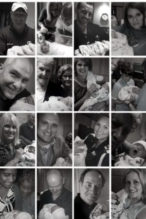 A photo collage of 16 of Cara and Vic's family members. Each person is holing Everett and smiling or admiring him. Everyone rejoiced when he was born.