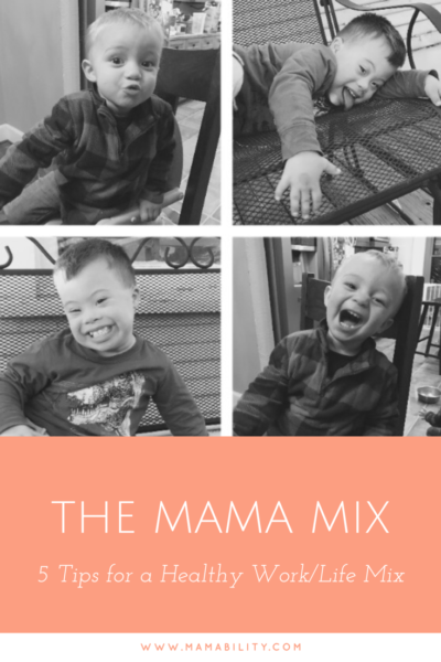 A Pinterest graphic with the title of the blog - The Mama Mix and pictures of Everett and Liam acting silly.