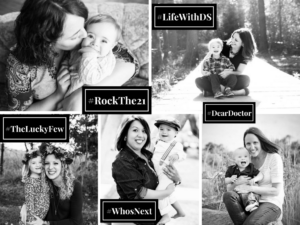One of the graphics I used in my TEDx talk. It's filled with photos of Rockin' moms and their kids with DS, and the hashtags we use to advocate on social media