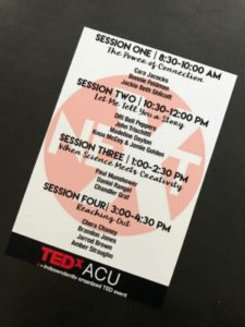 A pic of the TEDxACU program, and the speaker lineup!