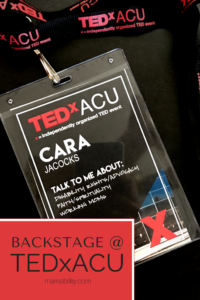 A photo of my backstage pass to TEDxACU