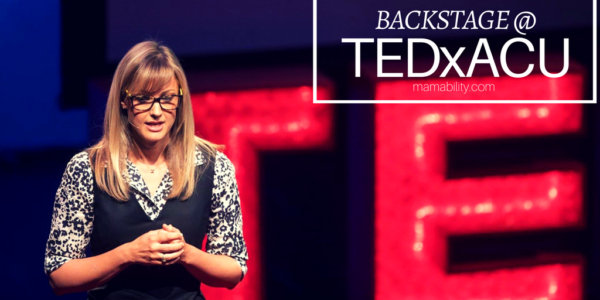 "Twitter flyer with a photo taken of me speaking during the TEDx talk, titled ""Backstage @ TEDxACU."""