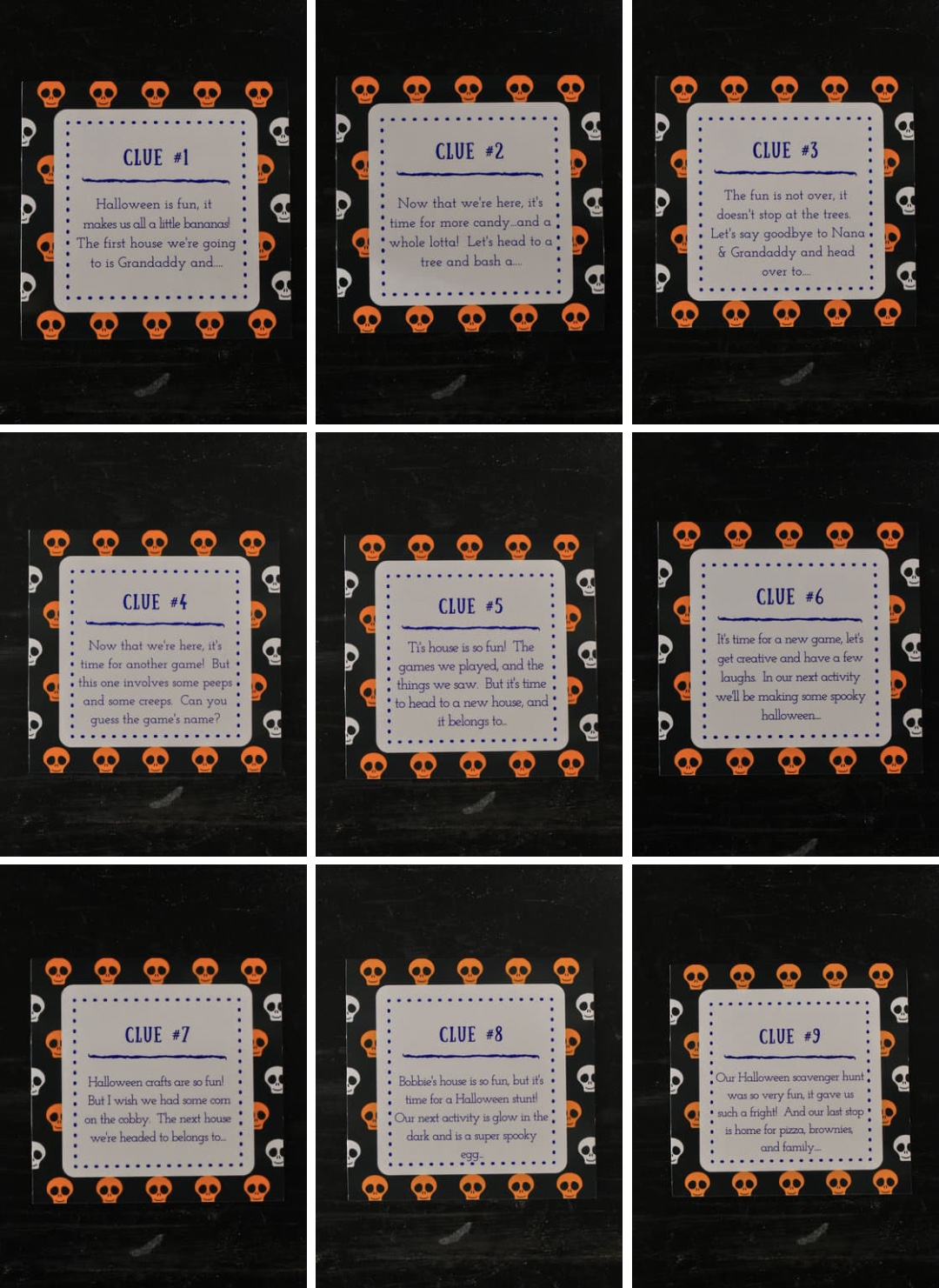 Scavenger hunt cards made from Canva with clues for the Halloween 2020 hunt.
