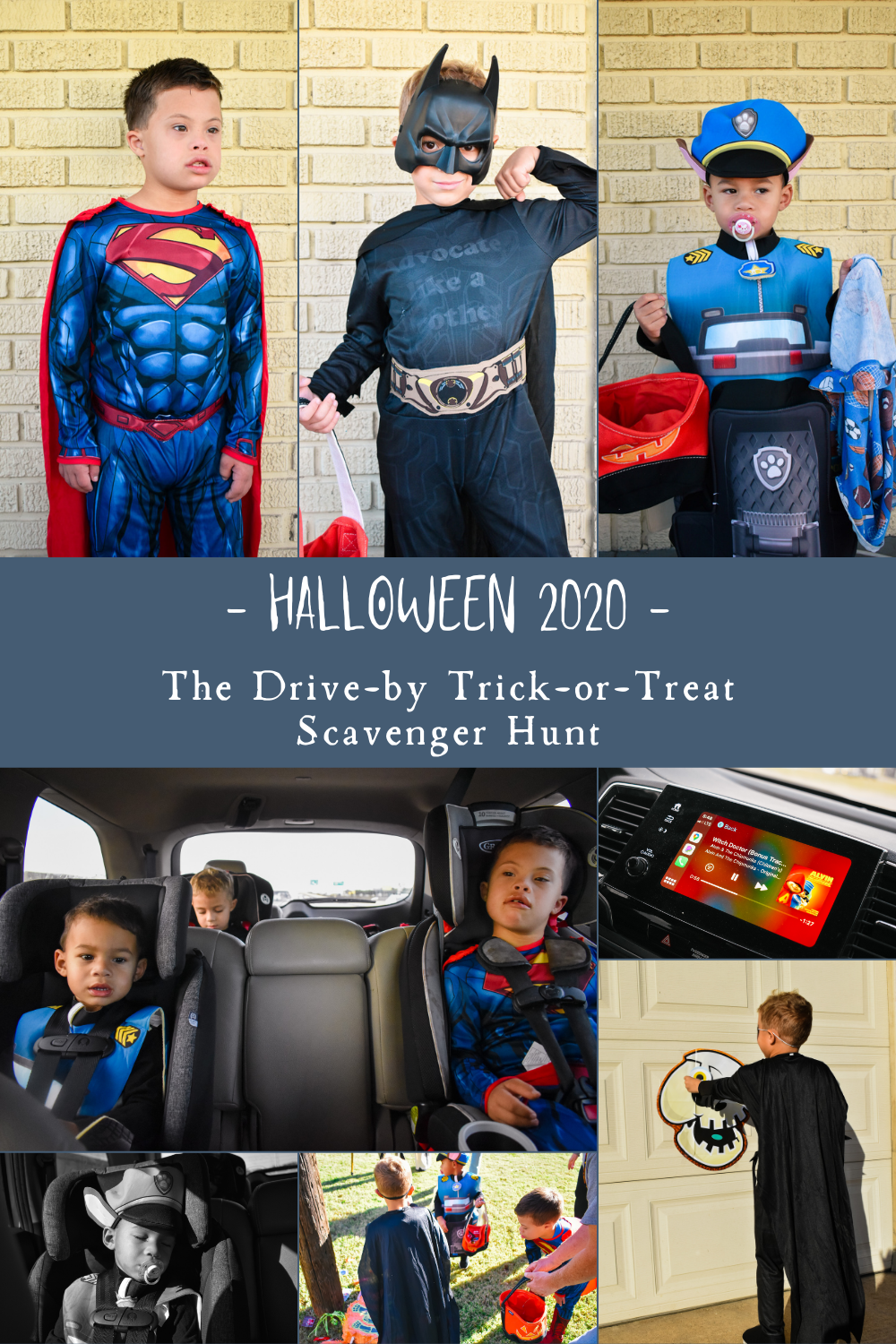 Graphic of three little boys in Chase costume, batman costume, superman costume, and pics of them riding in car on Halloween scavenger hunt, and of them cracking a pinata and playing games